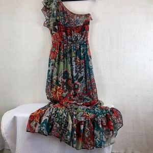 AMERICAN RAG Boho One Shoulder Maxi Dress, Size S